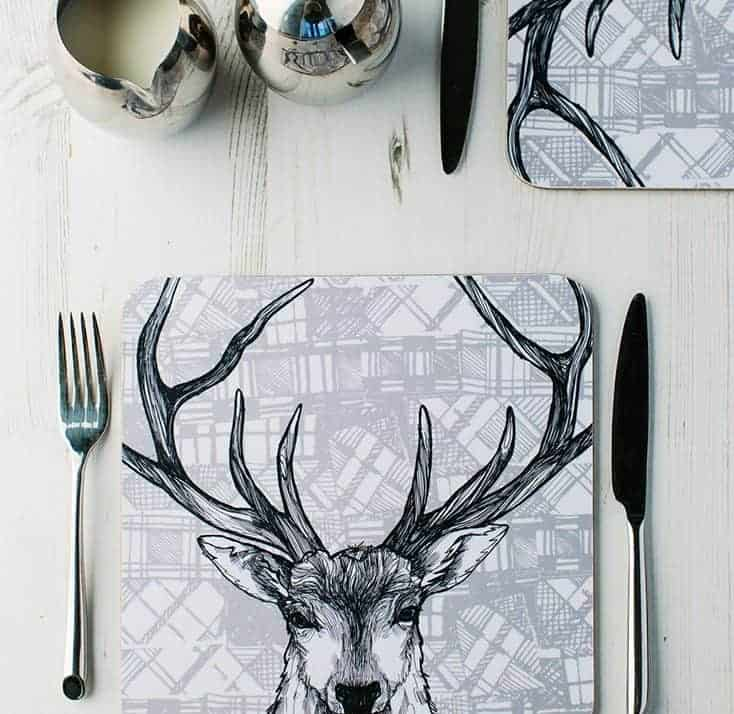Tartan Animals table place setting