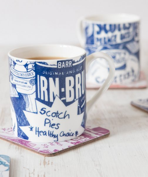 Scottish Breakfast Mug and coasters by Gillian Kyle