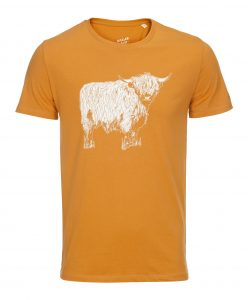 Men's T-shirt with Highland Cow Illustration by Gillian Kyle