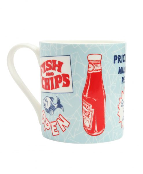 Coffee Mug with Fish and Chips Design