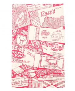 Kitchen Tea Towel in Raspberry with Sweet Tooth design by Gillian Kyle