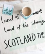 Drinks Coasters with Scotland The Brave illustration by Gillian Kyle