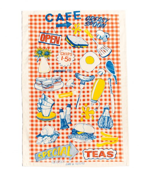 Tea Towel with Greasy Cafe illustration by Gillian Kyle