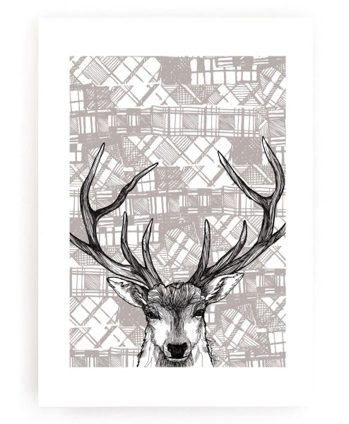Wall Art Print with Tartan Stag design by Gillian Kyle