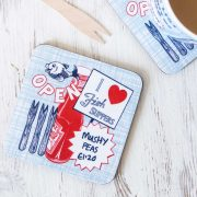 Gillian Kyle Drinks Coasters with retro Fish and Chips design by Gillian Kyle