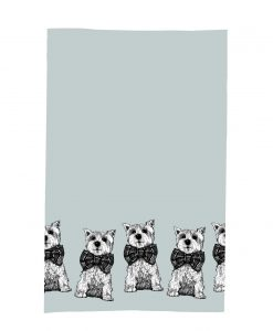 Kitchen Tea Towel with Archie the Westie Dog Love Scotland Design by Gillian Kyle