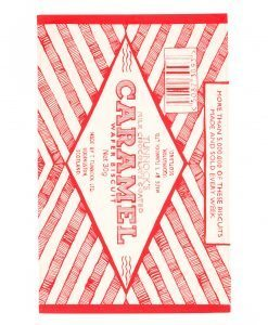 Kitchen Tea Towel with Tunnock's Caramel Wrapper illustration by Gillian Kyle