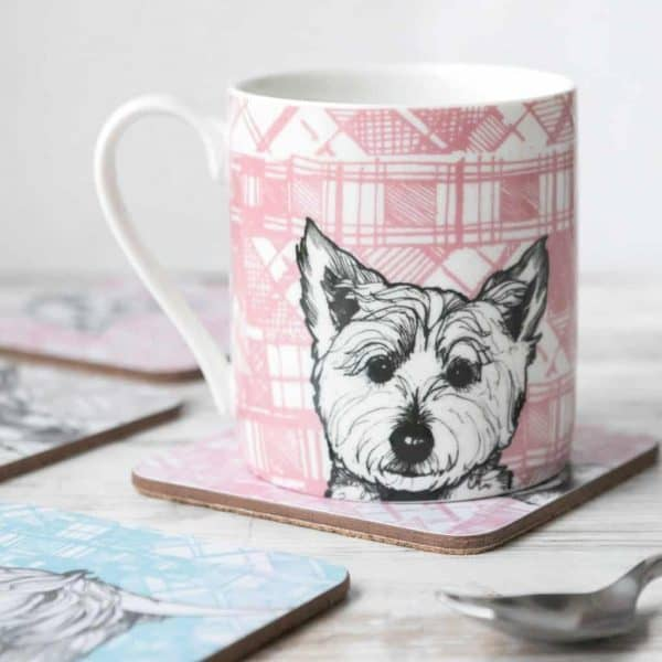 Scottish china mug and coasters in Westie design by Gillian Kyle