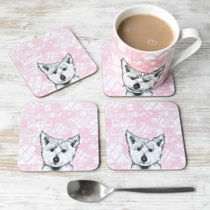 A set of 4 Scottish Westie coasters by Gillian Kyle