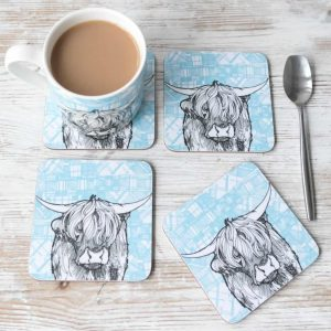 Highland Cow coasters with tartan background by Gillian Kyle