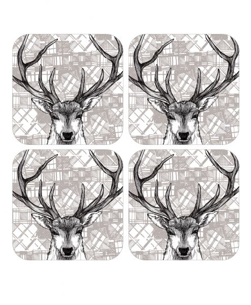 Scottish Stag set of 4 coasters with tartan background by Gillian Kyle