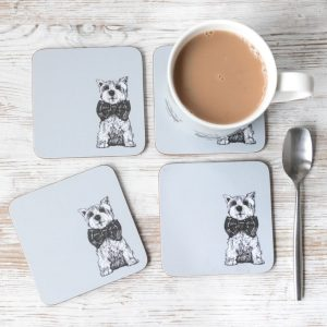 Archie West Highland Terrier Scottish coasters by Gillian Kyle