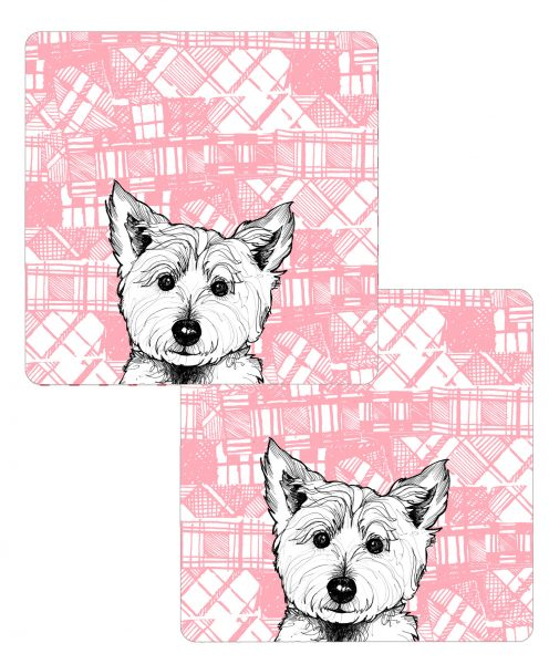Set of 2 Scottish Westie tablemats by Gillian Kyle