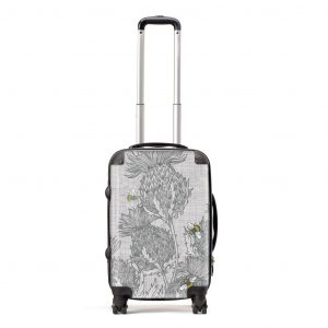 designer Gillian Kyle luggage in scottish thistle design