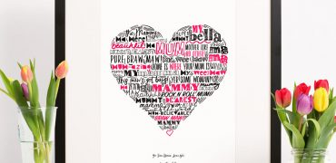 typographic Scottish print celebrating Mothers by Gillian Kyle