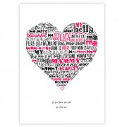 typographic Mother Love heart print by Gillian Kyle
