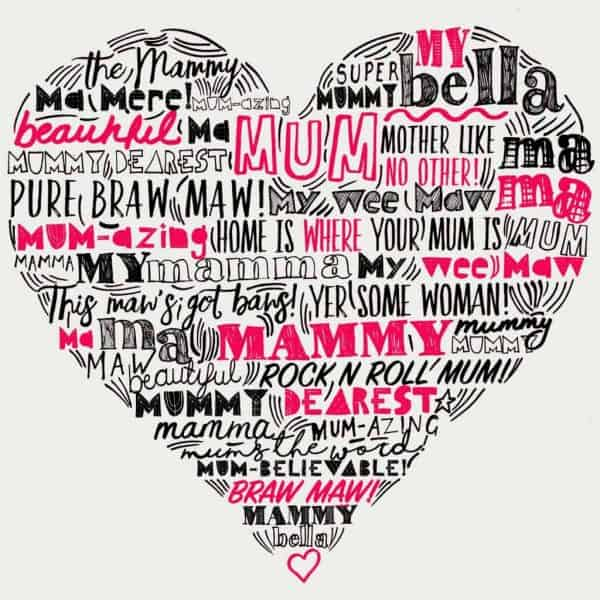 typographic Mother Love heart print by Gillian Kyle - print detail, red and black