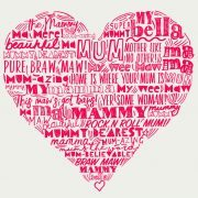 typographic Mother Love heart print by Gillian Kyle - print detail, red