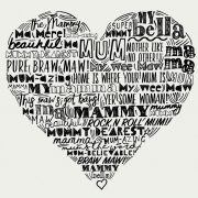 typographic Mother Love heart print by Gillian Kyle - print detail, black
