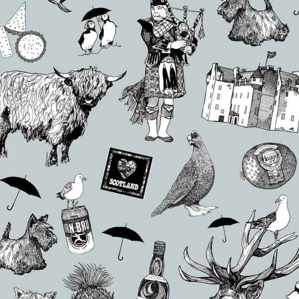 Love Scotland suitcase print detail - Gillian Kyle