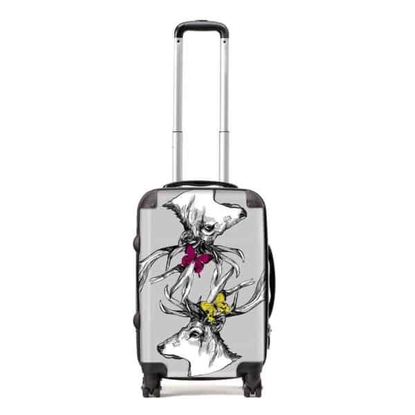 Scottish stags suitcase in stone by Gillian Kyle