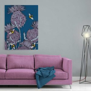 Scottish thistles canvas print in indigo by Gillian Kyle