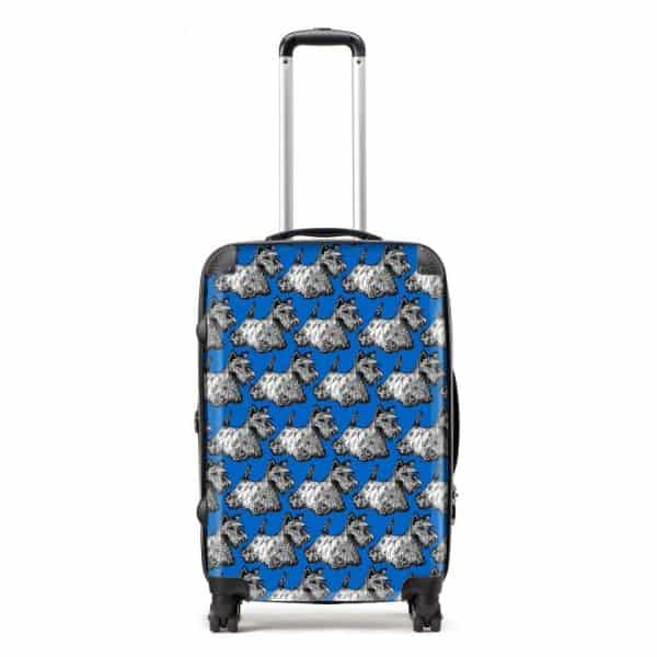 Scottish Terrier suitcase in blue by Gillian Kyle