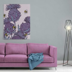 Scottish thistles canvas print in lilac by Gillian Kyle