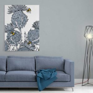 Silver Thistle stretched canvas by Gillian Kyle
