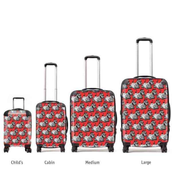 Red Scottie suitcases in various sizes by Gillian Kyle
