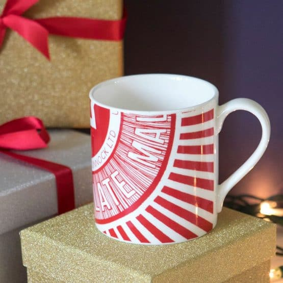 Gillian Kyle, scottish breakfast mugs, scottish mugs and cups, tunnock's teacake caramel wafter design