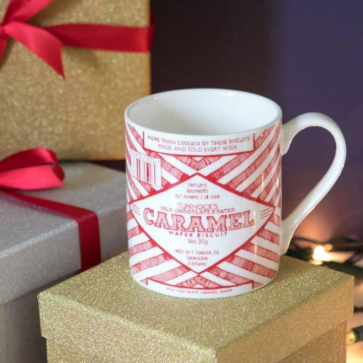 Gillian Kyle, scottish breakfast mugs, scottish mugs and cups, tunnock's teacake caramel wafter design
