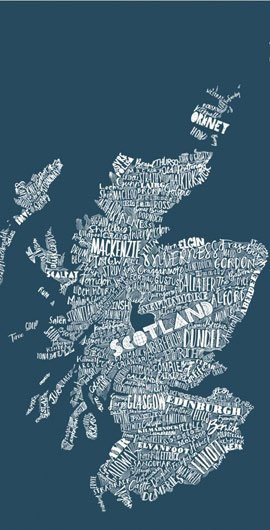 Scotland Mapped Out Gifts by Gillian Kyle