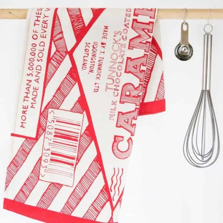 Kitchen Tea Towel with Tunnock's Caramel Wrapper design by Gillian Kyle