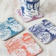 Scottish coasters with Scottish Breakfast Irn-Bru design by Gillian Kyle