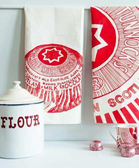Kitchen Tea Towels with Tunnock's Teacake illustrations by Gillian Kyle