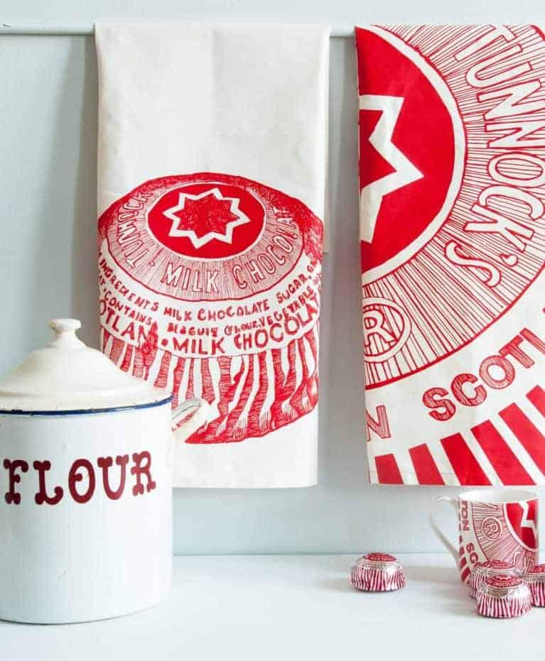 Kitchen Tea Towels with Tunnock's Teacake illustrations by Gillian Kyle