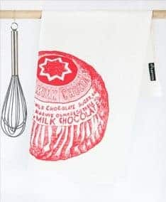Kitchen Tea Towel with Tunnock's Teacake illustration by Gillian Kyle