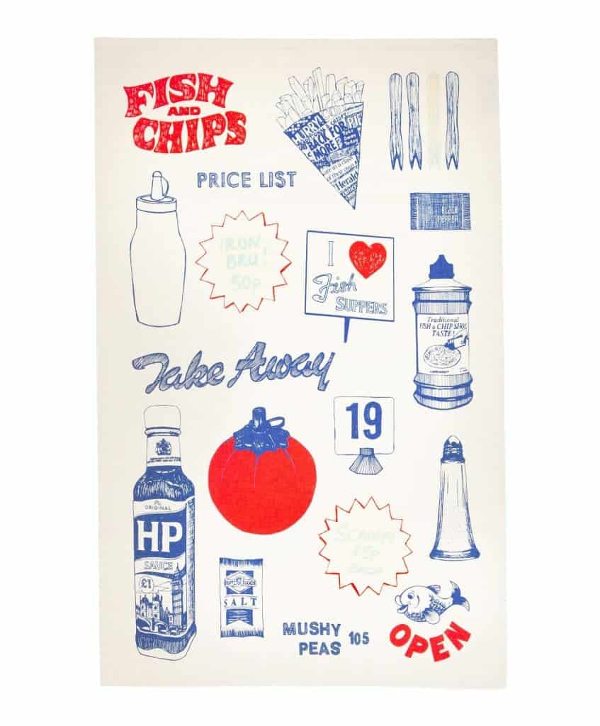 Gillian Kyle, Kitchen textiles, Scottish tea-towel, fish and chips print