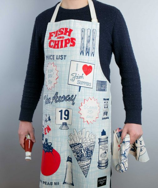 Fish and Chips Kitchen Apron on Model by Gillian Kyle