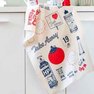 Kitchen Tea Towel with Fish and Chips by Gillian Kyle