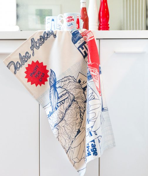 Kitchen Tea Towel from the Fish and Chips Range by Gillian Kyle IN SITU
