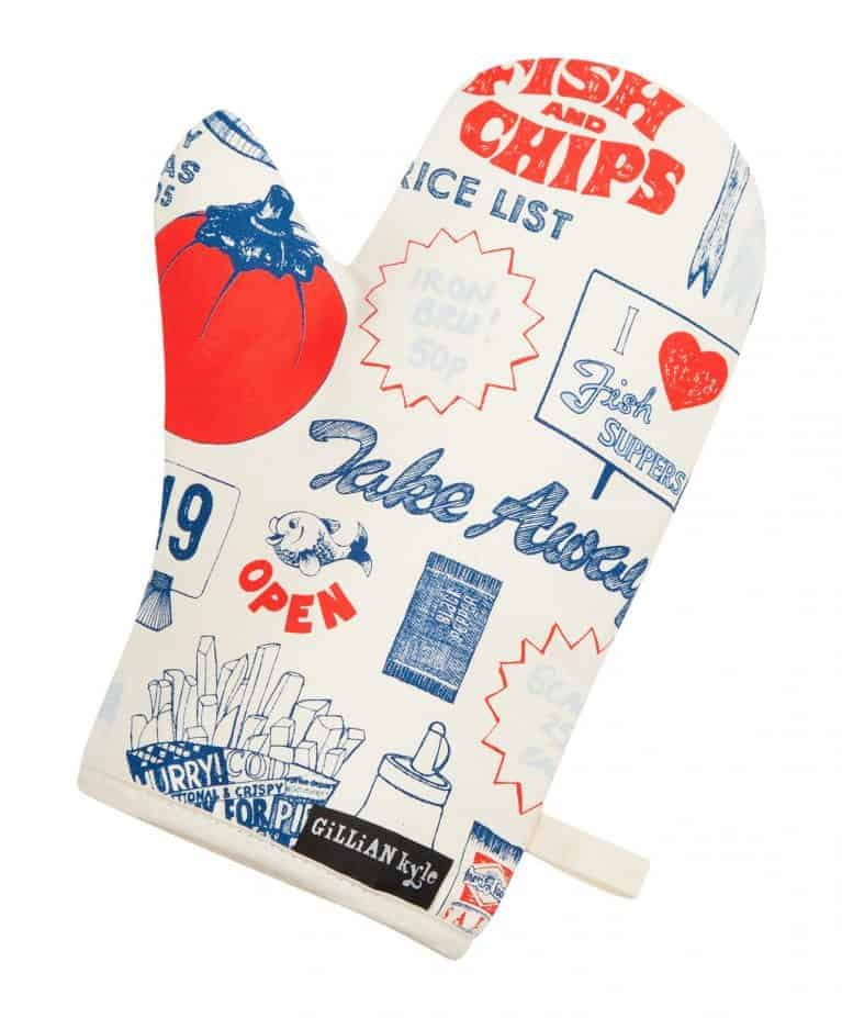 Gillian Kyle, Oven Glove, Fish and Chips Design, Tomato Ketchup