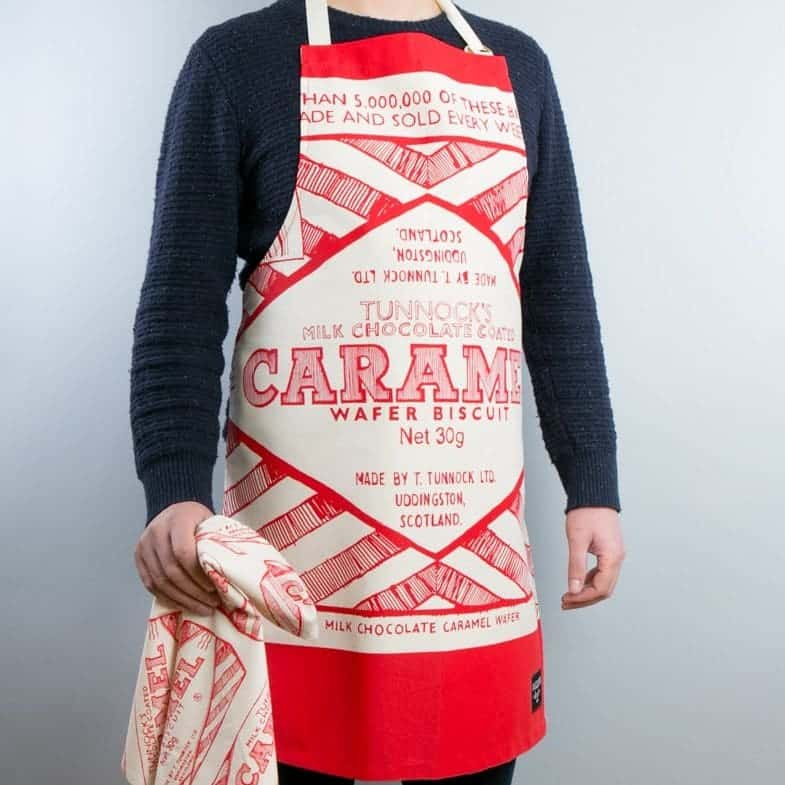 Gillian Kyle, Scottish breakfast textiles, Scottish apron, Scottish Tunnock's teacake print