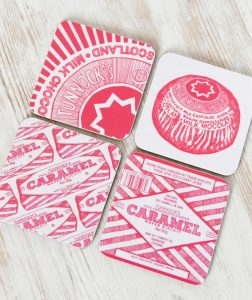 Scottish coasters in Tunnocks Teacake and Caramel Wafer designs by Gillian Kyle