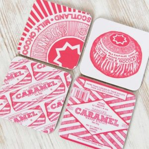 Gillian Kyle, Scottish coasters in Tunnocks Teacake and Caramel Wafer, set of 4, Tunnock's