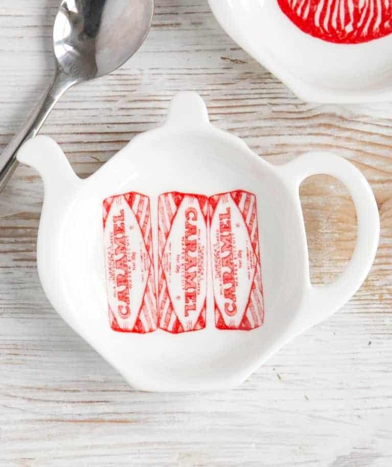 Tea Bag Tidy with Tunnock's Caramel wafer design by Gillian Kyle