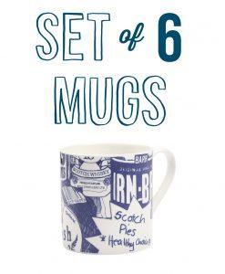 Fine Bone China Mug set of six with Scottish Breakfast Design