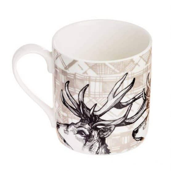 Fine Bone China Mug with Highland Stag Design By Gillian Kyle