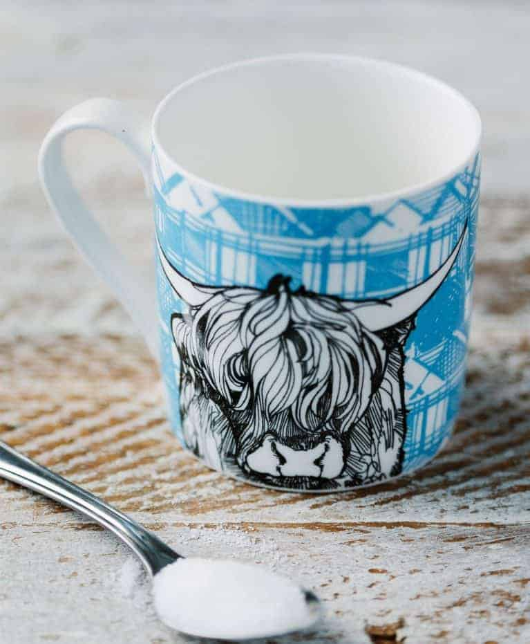 Fine Bone China Mug with Highland Cow Design By Gillian Kyle